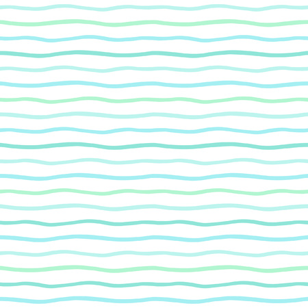 Mint green waves, wavy stripes, lines, bars seamless vector pattern. Uneven doodle style streaks. Thin hand drawn waves backdrop. Marine striped abstract background. Ilustracja
