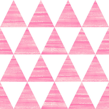 Brush drawn triangles seamless vector pattern. Acrylic, oil, gouache hand drawn pink and white geometrical background. Illustration