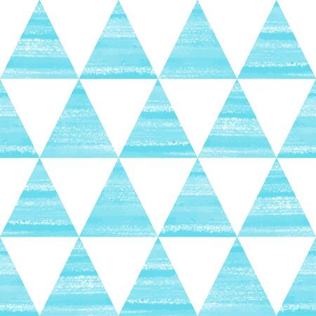 Triangles seamless vector pattern. Acrylic, oil, watercolor brush drawn blue and white geometrical background. Winter ornament.