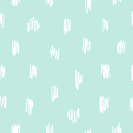 Doodle style scrawl, scratch, scribble seamless vector pattern. Free hand drawn spots, specks, flecks abstract mint green background. Cute, tiny uneven zigzag brush strokes texture. Çizim