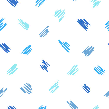 Free hand drawn diagonal scrawl, scratch, scribble seamless vector pattern. Cute, tiny uneven zigzag brush strokes texture. Doodle style spots, specks, flecks abstract background. Shades of blue. Çizim