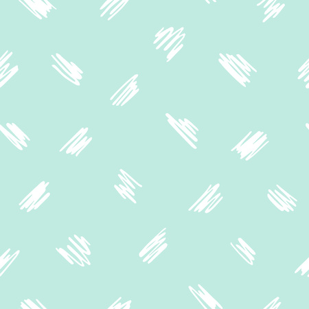 Free hand drawn diagonal scrawl, scratch, scribble seamless vector pattern. Cute, tiny uneven zigzag brush strokes texture. Doodle style spots, specks, flecks abstract mint green background.