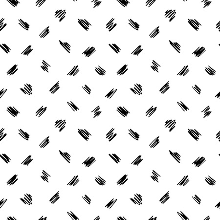 Free hand drawn diagonal scrawl, scratch, scribble seamless vector pattern. Cute uneven zigzag brush strokes black and white texture. Doodle style spots, specks, flecks abstract monochrome background.