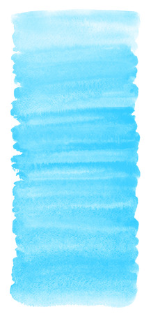 Sky blue watercolor gradient background with stains and rough, uneven edges. Brush stroke elongated shape. Painted watercolor texture. Aquarelle template for cards, banners, posters, text design. Stock Photo