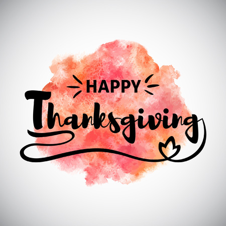 Happy Thanksgiving greeting card with orange and pink watercolor stains background.