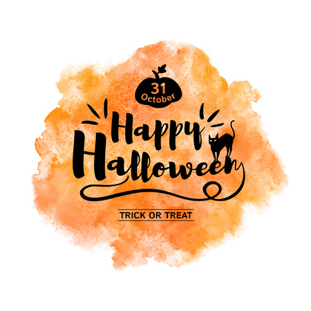 Happy Halloween greeting card with lettering and orange watercolor stains background