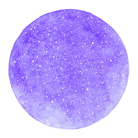 Round winter watercolor background with snow texture and uneven edge. Christmas, New Year template with tiny specks, splashes, flecks, dots, snowflakes. Circle shape. Violet watercolour stains.