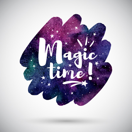 Watercolor brush stroke shape with Magic time lettering. Holiday typographic composition and colorful cosmic watercolor background. Night sky, galaxy with stars. Template for greeting cards. Illustration