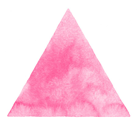 Pink watercolor triangle shape isolated on white. Valentines day geometric background with stains. Light pink watercolor texture. Soft pastel color. Hand drawn abstract aquarelle fill.