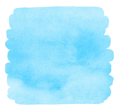 Sky blue watercolor background with uneven edges. Brush stroke shape isolated on white. Water puddle. Light pastel watercolour stains. Aquarelle template for your design. Colorful texture.