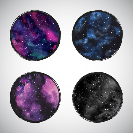 Collection of round colorful cosmic vector backgrounds or night sky with stars, universe, galaxy. Watercolor shape with frame. Watercolor stains circles set with brush edges border.