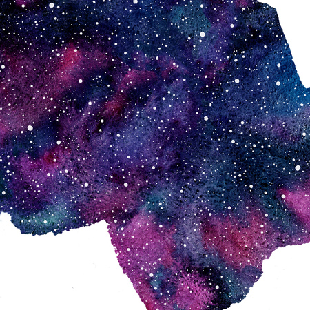 Cosmic, cosmos watercolor background. Uneven free hand drawn shape. Colorful watercolor. Hand drawn aquarelle illustration with blobs texture.