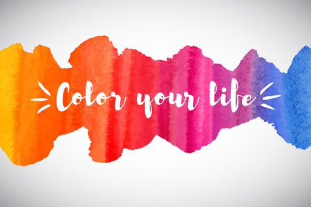 Watercolor vector rainbow border or frame with inspiration, motivation, optimistic, encouraging quote. Color your life lettering. Colorful watercolor background. Brush stroke banner template. Иллюстрация