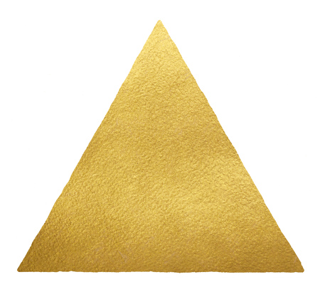 Gold triangle or pyramid shape background with uneven edge isolated on white. Golden geometrical figure template. Gold foil texture background. Stock Photo
