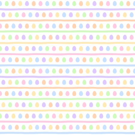 Colorful Easter seamless vector pattern. Painted stylized tiny eggs and doodle style uneven stripes, streaks, bars regular texture. Simple multicolored Easter background, soft pastel colors template.