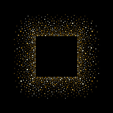 Golden square border made of tiny uneven round dots. Gold splash or glittering spangles rectangle frame with empty center for text. Abstract background. Golden blobs textured frame on black backdrop.