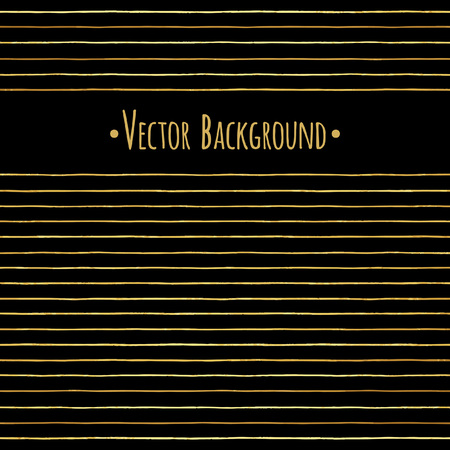 Gold vector stripes or pinstripes luxury background. Hand drawn streaks border. Golden foil uneven, doodle style lines or bars, striped yellow texture. Glittering, shining template for banners, cards. Illustration