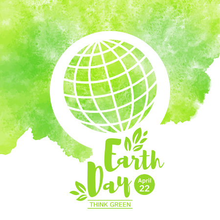 World Earth Day illustration. Globe, our planet simple icon with grid, green watercolor stains background. Lettering, typographic composition with date and leaves, foliage. Aquarelle texture, template