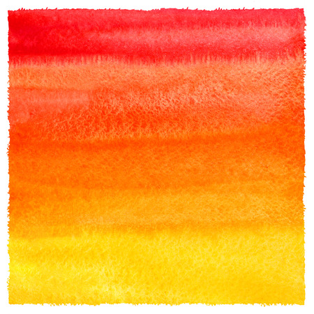 Red, orange, yellow gradient watercolor background with uneven, artistic edges. Fire, tropical or sunset colors aquarelle fill. Colorful watercolor texture with stains. Hand drawn square template.
