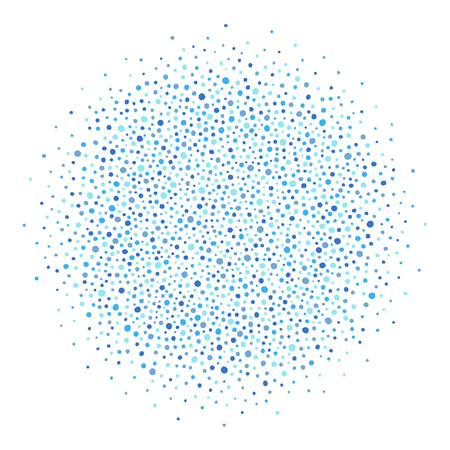 Round shape, circle, sphere made of uneven dots of various size isolated on plain background.