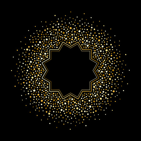 Gold circle shape made of tiny uneven spots, specks, splashes abstract background.