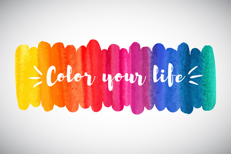 Watercolor rainbow brush stroke. Inspiration, motivation, optimistic, encouraging quote. Color your life lettering. Colorful watercolor background. Aquarelle border, frame, banner elongated template.