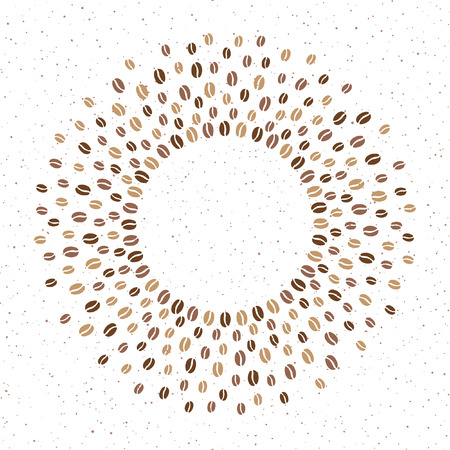 Round coffee beans frame with space for text and spray, splash, tiny specks, spots, dots texture. Circle shape radial vector background for coffee house, packaging. Shades of brawn design element.