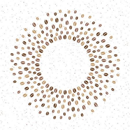 Cornice rotonda di chicchi di caffè con spazio per testo e spray, splash, piccole macchioline, macchie, texture di punti. Cerchio forma radiale vettore sfondo per caffè, imballaggio. Sfumature di elemento di design brawn.