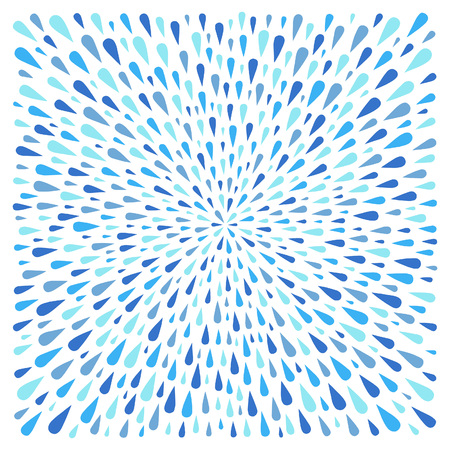 Square shape made of uneven water drops, droplets, raindrops, tears of various size. Radial template for borders, frames, design element. Shades of blue abstract rainy background.