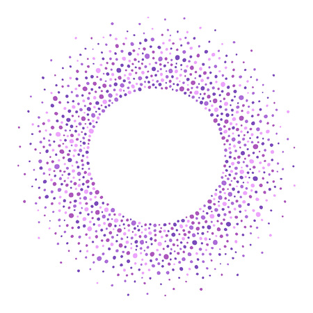 Round dots frame, border, circle made of uneven blobs, drops, spots, specks, flecks, splashes. Lilac, violet, floral, lavender colors. Radial abstract background with space for text, lettering. Çizim