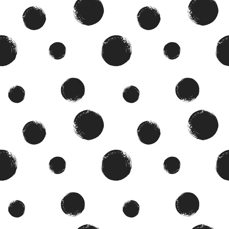 Brush drawn circles seamless repeat vector pattern in monochrome template.