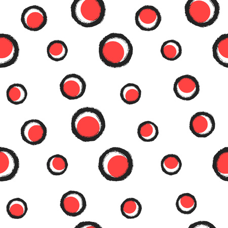 Brush drawn circles, round shapes, rings seamless repeat vector pattern. Uneven textured edges, red spots, polka dots. Endless abstract texture, scary eyeballs background. Illustration