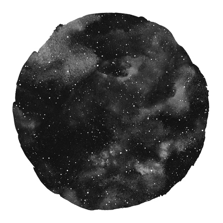 Round monochrome cosmic, cosmos, space watercolor background isolated on white. Watercolour galaxy, universe, night sky with stars. Circle shape with an artistic uneven edge. Aquarelle stains texture.