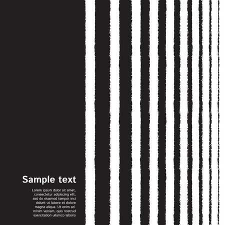 Halftone hand drawn elegant striped background or border with space for text. Brush, chalk textured vertical stripes, streaks, strips, lines, bars of different width. Striped black and white texture. Vektoros illusztráció