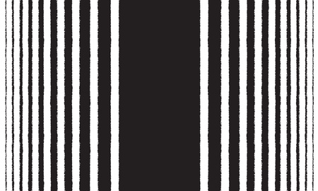 Halftone hand drawn long, elongated striped background, pattern or border. Brush, chalk textured vertical stripes, streaks, lines, bars of different width with rough edge. Black and white texture.