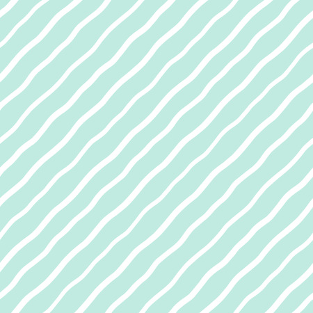Mint green and white diagonal wavy stripes, waves seamless repeat background, pattern. Oblique, tilted hand drawn undulating lines, inclined streaks, strips, bars template. Striped dynamic texture.