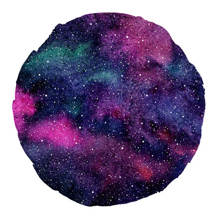 Round colorful cosmic, cosmos, space watercolor background isolated on white. Watercolour galaxy, universe, night sky with stars. Circle shape with an artistic uneven edge. Aquarelle stains texture. Stok Fotoğraf