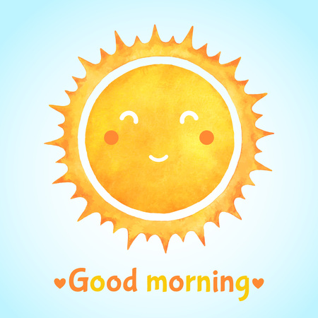 Good morning watercolor illustration with positive smiling happy sun. Cartoon cute face, watercolor spiked crown, round frame or border. Aquarelle yellow and orange circle design.
