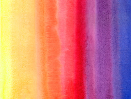 Bright colorful watercolor stains. Multicolor aquarelle striped background. Yellow, orange, red, pink, violet, blue. Watercolor stripes of different colors painted abstract template