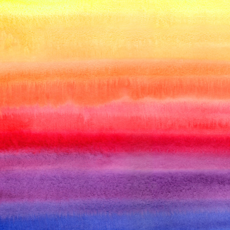 Bright colorful watercolor stains square texture. Multicolored aquarelle striped background. Yellow, orange, red, pink, violet, blue. Watercolor stripes of different colors.