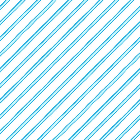 Dual, doubled, twin diagonal doodle style blue stripes, pinstripes seamless vector repeat pattern. Uneven oblique, tilted lines, inclined streaks, bars background. Striped dynamic endless texture.