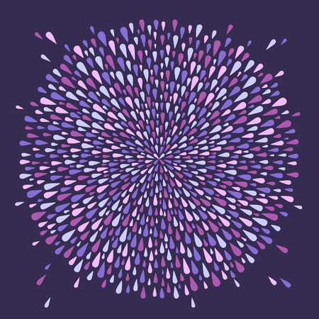 Round shape, magic circle made of uneven violet drops, droplets, raindrops, tears of various size. Radial template for borders, frames, design element. Lilac, lavender abstract background, pattern. Çizim