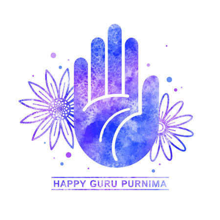 Modello di biglietto di auguri celebrazione felice Guru Purnima, illustrazione vettoriale dell'acquerello con una mano di benedizione di stile piano, una palma e fiori. Struttura dell'acquerello, macchie di acquarello colorato blu, lilla.