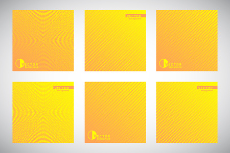 Set, collection of square yellow and orange geometric gradient backgrounds with ornamental texture, pattern.