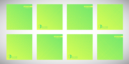Set, collection of green flat square gradient backgrounds with geometric ornamental patterns. Con