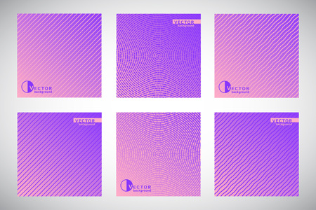 Set, collection of square violet geometric gradient backgrounds with ornamental texture, pattern.