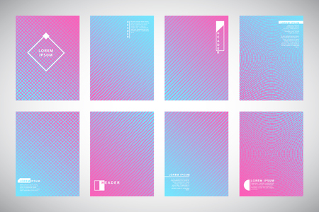 Set, collection of pink and blue geometric gradient backgrounds with ornamental texture, pattern. Concentric circles, dynamic diagonal stripes, wavy bars or waves. Cover, card, flyer, folder design.