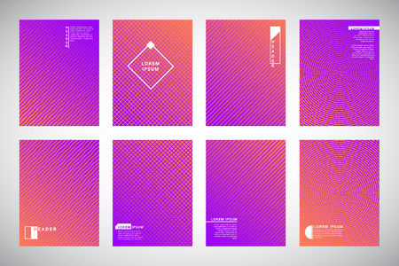 Set, collection of purple and orange geometric gradient backgrounds with ornamental texture, pattern. Concentric circles, dynamic diagonal stripes, wavy bars or waves. Cover, card, flyer trendy idea.