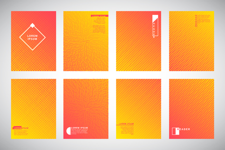 Set, collection of yellow and orange geometric gradient backgrounds with ornamental texture, pattern. Circles, dynamic diagonal stripes, wavy bars or waves. Cover, flyer, business folder design.