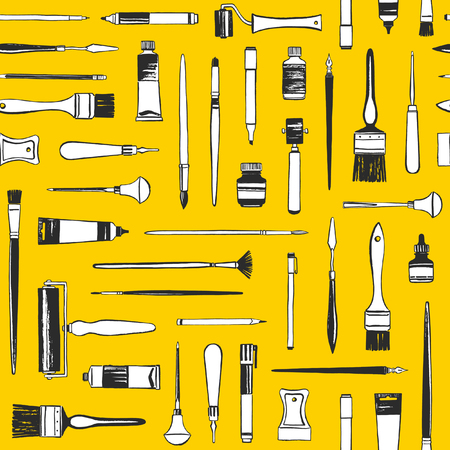 Art supplies, printmaking tools, painter equipment seamless vector pattern. Flat laying illustration, yellow background, texture. Uneven hand drawn brush, pen, marker, roller, cutter, crayon, paint tube.
